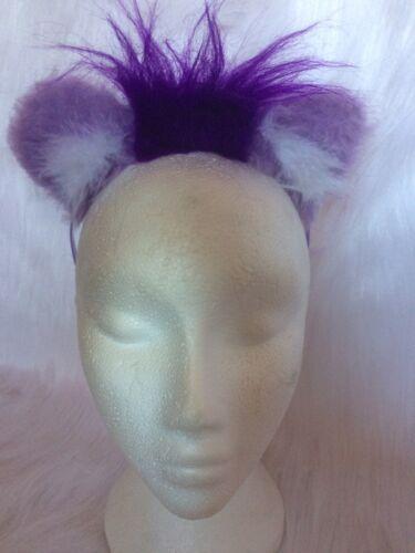 Lilac Lion Ears With Bright Purple Luxury Fur Mini Mane Fancy Dress Animal Ears
