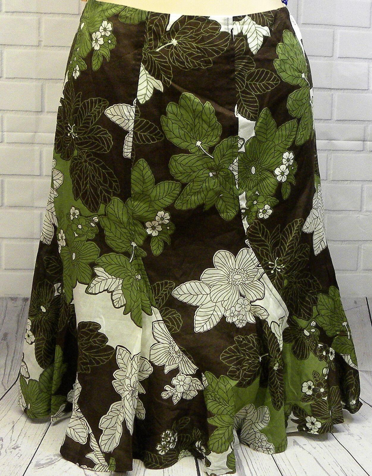Jones New York Sport Green Floral Lined Skirt Concealed Side Zip Ruffle Hem 10P