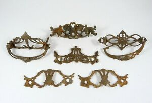 6-Antique-Victorian-Decorative-Ornate-Drawer-Pull-Back-Plates-Cast-Iron-Brass
