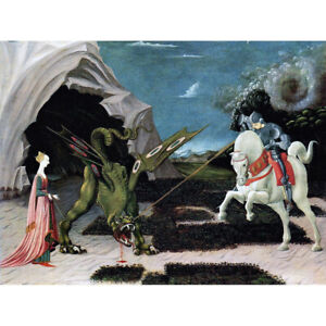 Uccello-Saint-George-Dragon-Painting-Canvas-Art-Print-Poster