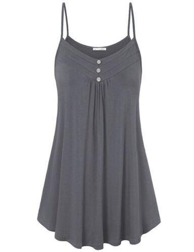Women Strappy V Neck Cami Vest Tank Tops Ladies Sleeveless Plain Swing Shirt US