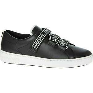 135-MICHAEL-KORS-Designer-Casey-Black-Lea-Slogan-Comfy-Fashion-Sneakers-UK-7-5