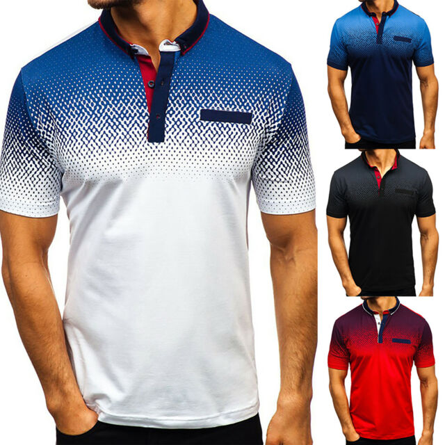US Mens Slim Fit Shirts Solid Short Sleeve Casual Golf T-shirt Tee Tops Jersey