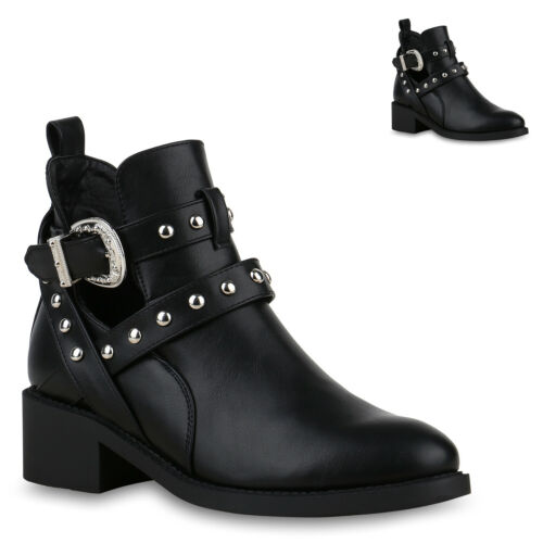 Damen Stiefeletten Ankle Boots Leder-Optik Booties Cut Outs 826022 Trendy Neu