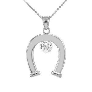 White gold cz studded lucky horseshoe pendant necklace ebay image is loading white gold cz studded lucky horseshoe pendant necklace mozeypictures Gallery