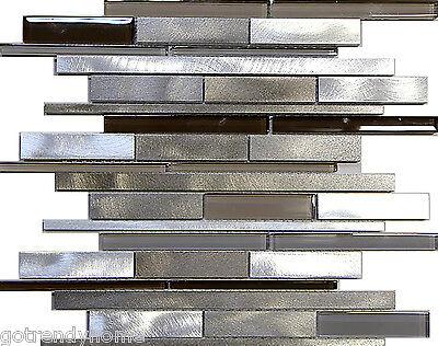 1SF- Metal Stainless Steel Linear glass mosaic Tile Kitchen Backsplash Beige Spa