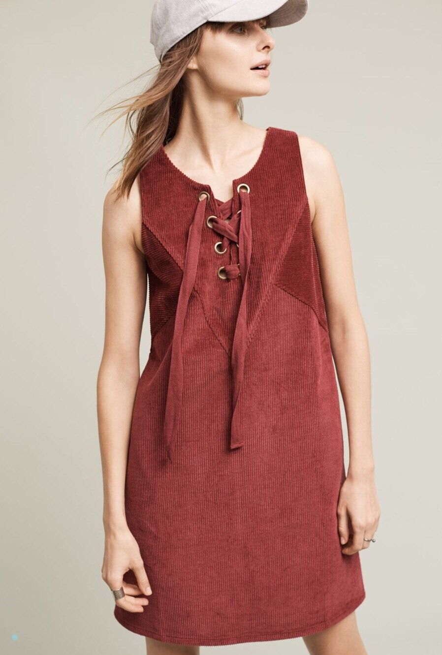 NWT NEW Maeve Anthropologie Liesl Corded Swing Dress Wine Red Lace Up Sz Small S