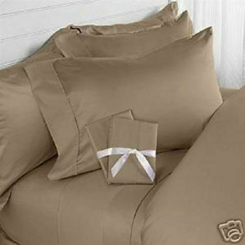 600 TC EGYPTIAN COTTON SHEET SET FITTED SHEET ALL USSIZES BEIGE SOLID COLORS