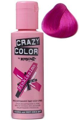 Crazy Color Semi Permanent Liquid Cream Hair Colour Dye Tint Pack Bottle 100ml
