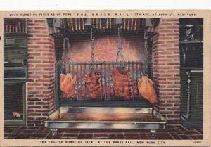 Postcard-English-Roasting-Jack-Chickens-Brass-Rail-New-York-City-NY