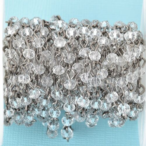 4mm rondelle faceted fch0686b 13ft CLEAR Crystal Rosary Chain gunmetal links