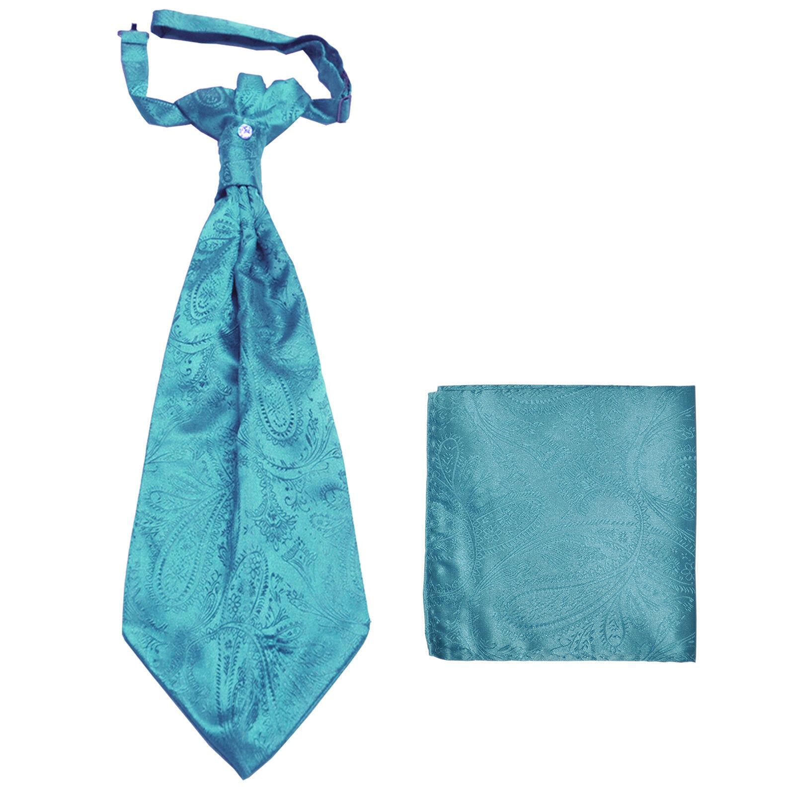 New men's polyester ASCOT cravat neck tie & hankie set Turquoise blue Paisley
