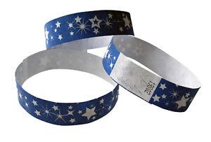 100 blaue Festivalbänder aus Tyvek Sterne weiß, durchnummerier<wbr/>t