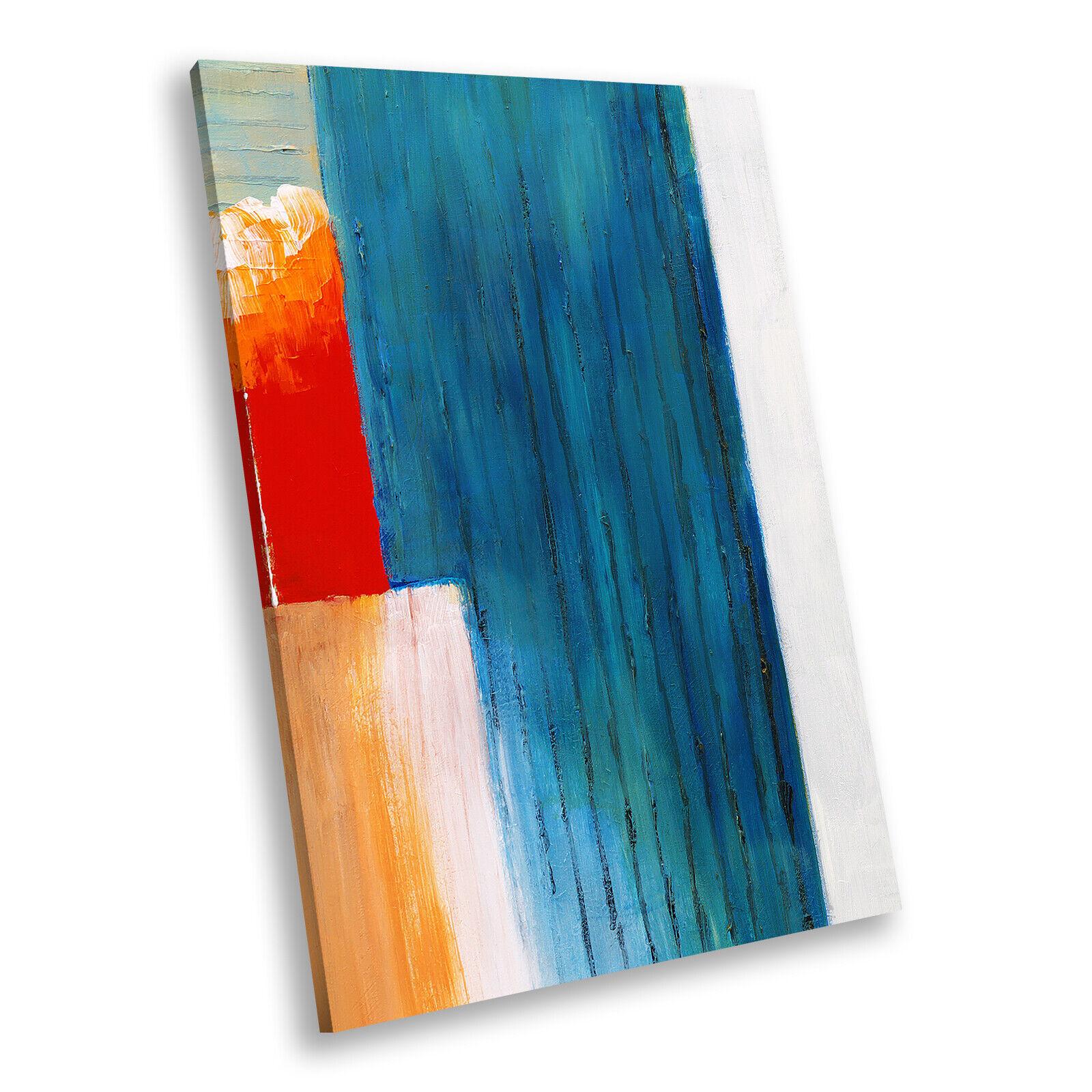 Blau Orange Grün Portrait Abstract Canvas Framed Art Large Picture