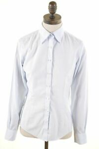 BROOKS-BROTHERS-Womens-Shirt-Size-2-Medium-Blue-Striped-Cotton-LG32