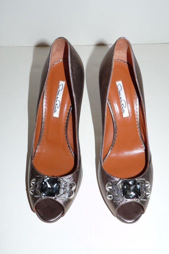 gli ultimi modelli Authentic Oscar de la Renta Renta Renta Jeweled Metallic Leather Pump Heel scarpe Sz 8.5  perfezionare