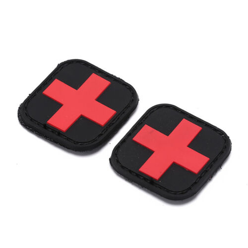 outdoor survival first aid pvc red cross hook loop fastener badge patch 4×UUXJ