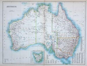 1897 Antik Landkarte Australia Tasmanien Van Diemens Land Neu South Wales
