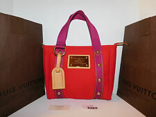 LOUIS VUITTON CABAS PM ANTIGUA Tote Hand Bag Cotton Rouge M40037 Authentic