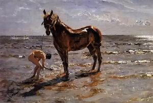 Valentin-Alexandrovich-Serov-Bathing-a-Horse-by-beach-landscape