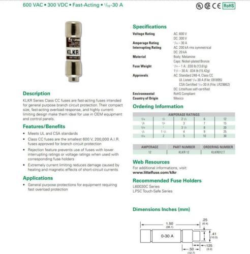 0.5 Amp 600 V à action rapide Fusibles klkr 1//2 Littelfuse klkr 1//2