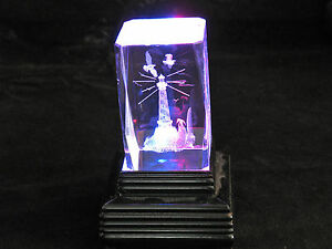 3d Laser Etched Prism Lighthouse Desktop Paperweight
