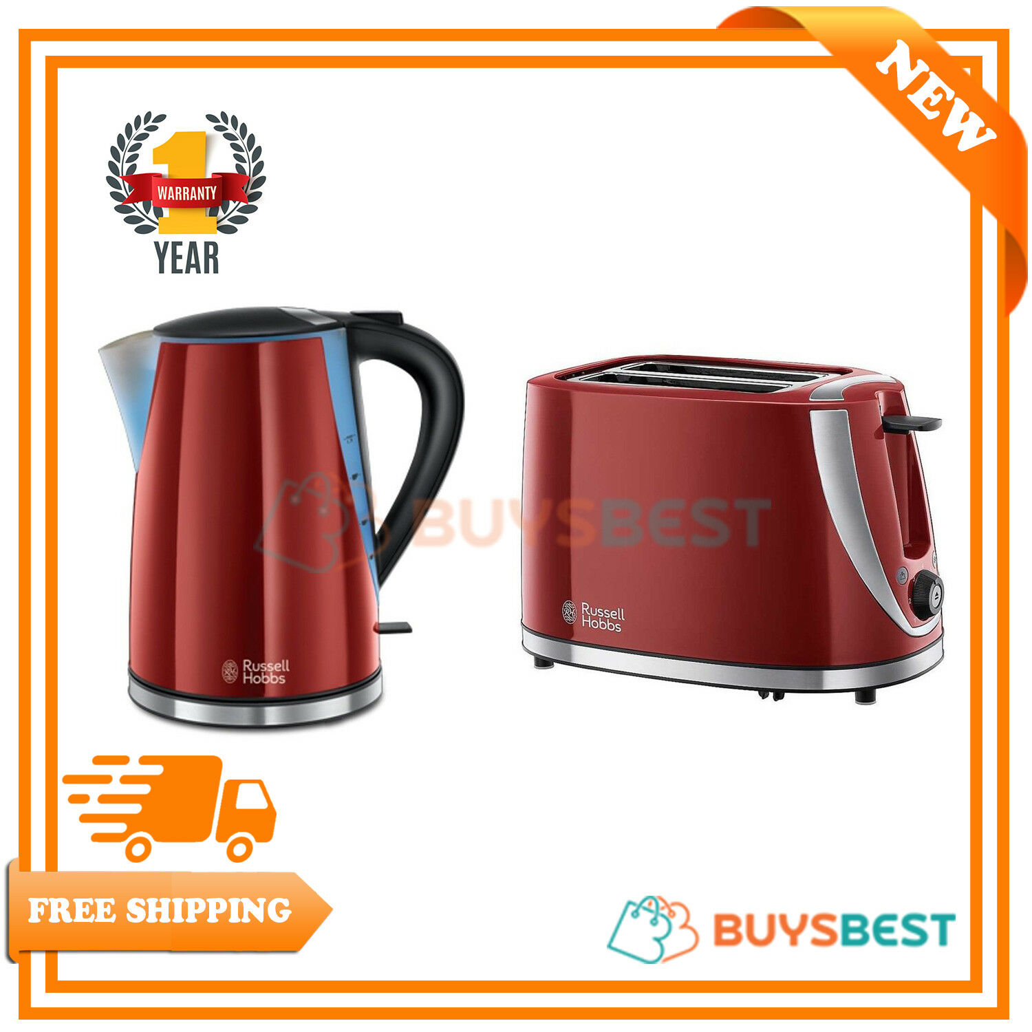 Russell Hobbs Mode 1.7 Ltr Jug Kettle & 2 Slice Toaster Set - Red