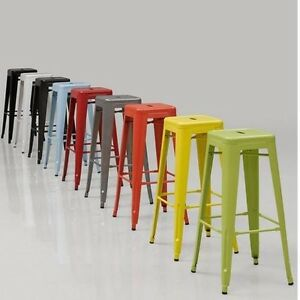 Image is loading 2 BAR STOOLS Metal Kitchen Counter STACKABLE