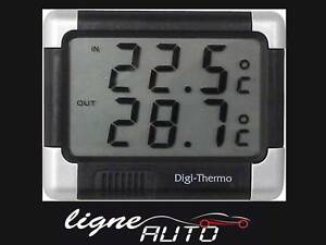 thermometre interieur exterieur noir argent auto voiture camping car alarme ge ebay. Black Bedroom Furniture Sets. Home Design Ideas