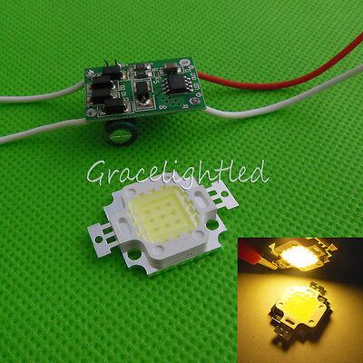 1kit 10W Warm White High Power LED Chip + 10Watt Led Driver 12V / 24V DC for DIY
