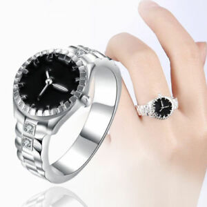 Women-Jewelry-Watch-Shape-Ring-Silver-Plated-Zircon-Round-Finger-Ring-Watch-New