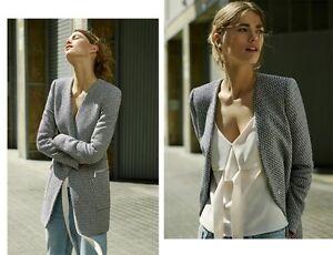 Zara-Basic-Jacquard-blazer-Long-36-s-abrigo-corto-Navy-azul-azul-marino-blanco