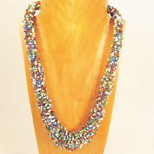 """25"""" Bright Multi Color Handmade Glass Seed Bead LONG Lizzy Bali Design Necklace"""