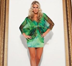 Summer-Swing-Shift-Party-Cocktail-Evening-Club-Animal-print-Jewelled-dress-L