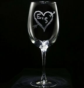 Image Is Loading Engraved Wine Glasses Arrow Initials In A Heart