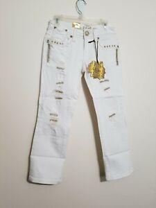 L A Idol Capri Bedazzled Jeweled White Capri Jeans With