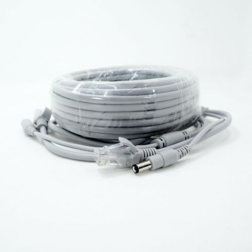 Gray 50ft Cat5E Network Ethernet LAN Video Power Cable for CCTV IP Camera 5M10M