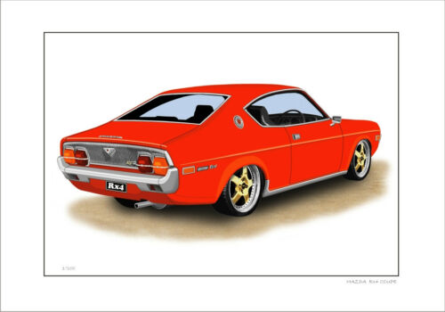 8 CAR COLOURS MAZDA RX4 COUPE 13B   LIMITED EDITION CAR DRAWING  PRINT