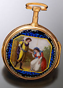 SCARCE ANTIQUE VERGE FUSEE ENAMELED CASE POCKET WATCH CA1795 PAINTED DIAL
