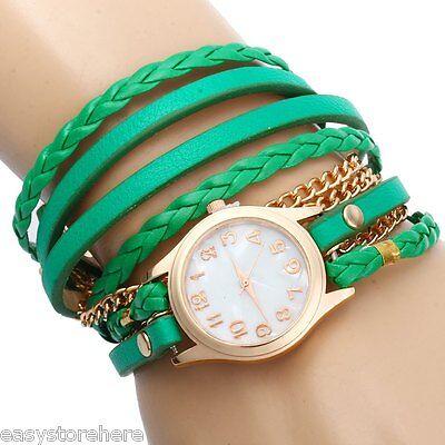 Women Vintage Weave Wrap Leather Bracelet Wrist Watch Multi-color