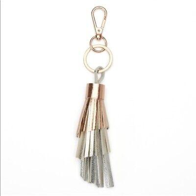 Lauren Conrad White//Rose Gold Tassel Fringe Key Chain Bag Backpack Charm NWT