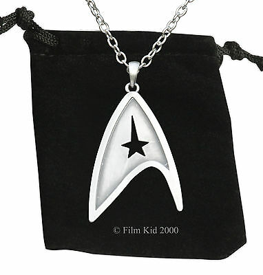 Star Trek Brushed Steel NECKLACE Pendant Communicator Darkness Starfleet Command