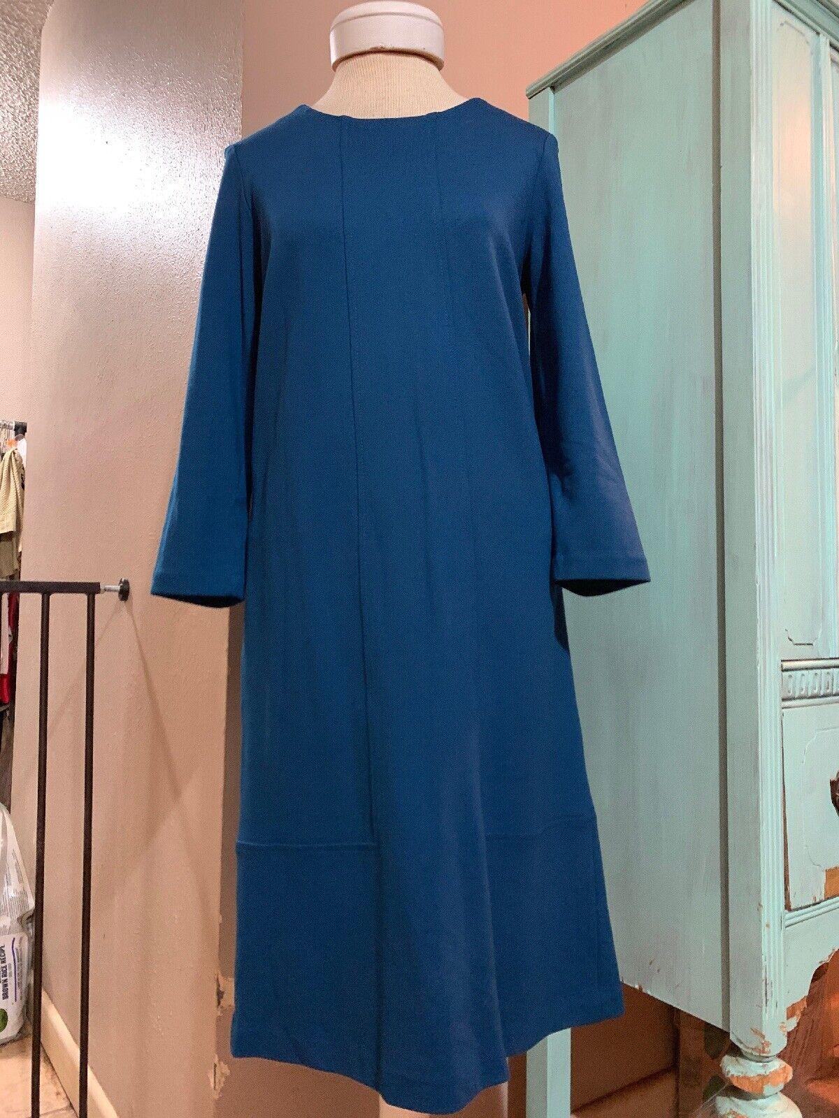 J Jill Ponte  Small Teal Green bluee Stretch Knit Dress Viscose Blend 3 4 Sleeve