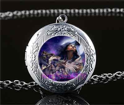 Tribe Woman And Wolf Photo Glass Tibet Silver Chain Locket Pendant Necklace