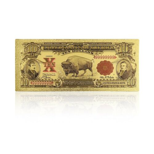 1901 Year Usd $10 Dollar Bill Banknote Colored Printing Gold Foil Banknotes