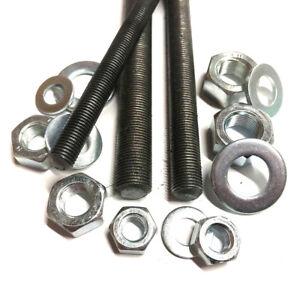 M8-M10-M12-1-0mm-FINE-PITCH-Threaded-Bar-Rod-Studding-Full-Nuts-Washers
