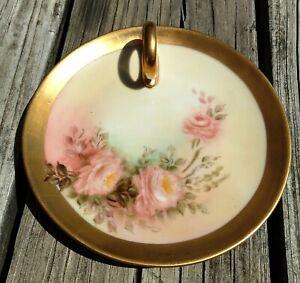 Antique-Bavaria-Nappy-w-Gold-Trim-amp-Handle-Pink-Floral-Hand-Painted-6-Vintage