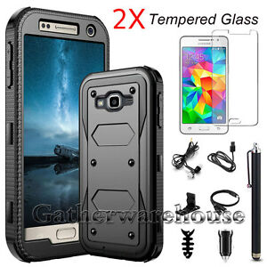 Shockproof Hybrid Hard Case Cover For Samsung + Tempered Glass Screen Protector