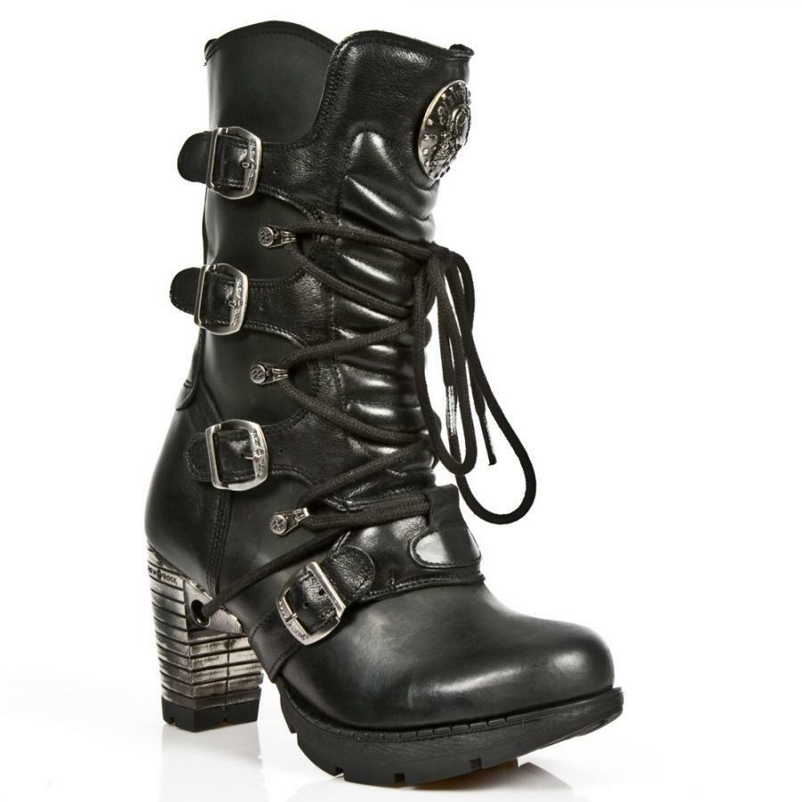 Bota de tacón PIEL NEW ROCK Negro Black leather heel boot M.TR003-S1