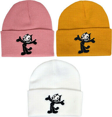 Dusty Rose Pink Felix the Cat Embroidered Winter Beanie 1920/'s Vintage Retro Cartoon
